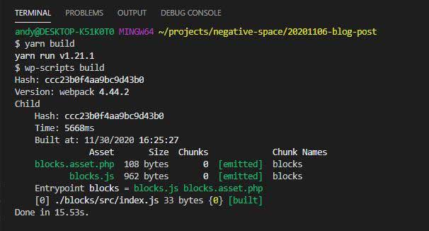 Successful wp-scripts build process